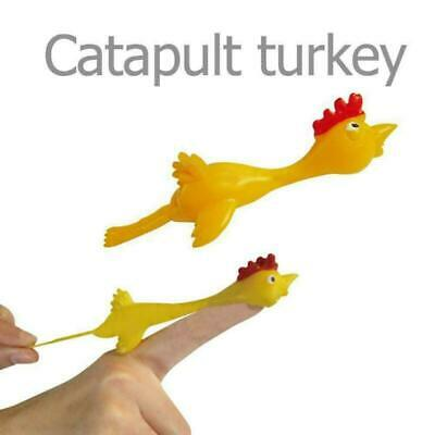 Sticky Flying Rubber Chicken Stretchy Turkey Finger Slingshot Kids Funny Toys • 3.99£