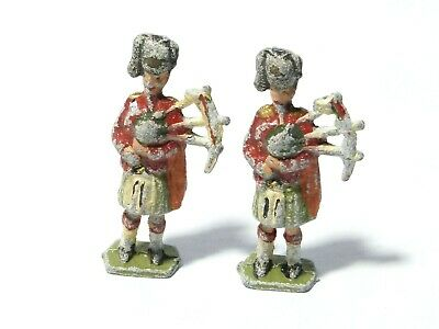 2 Lead Solider Toys Scottish Bagpipes Pipers PLAY WORN 6cm #3 • 12£