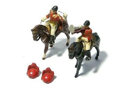 2 Diecast Lead Solider Toys Play Worn Royal DRUMMER & TRUMPETER On HORSES #8 • 20£