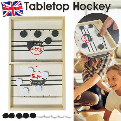 Wooden Hockey Game Table Game Family Fun Game For Kids Children 100% NEW • 12.59£