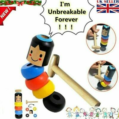 Unbreakable Wooden Magic Toy The Wooden Stubborn Man Toy FUNNY Gifts • 3.56£