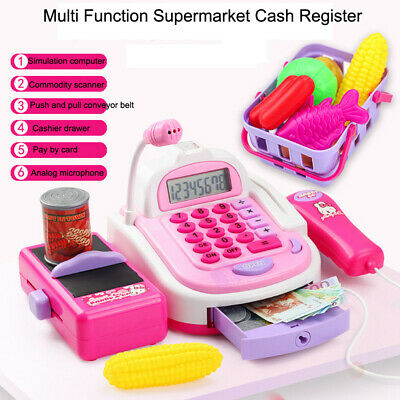 Kids Electronic Cash Register Toy & Play Food Set Supermarket Till Pretend Play • 20.38£
