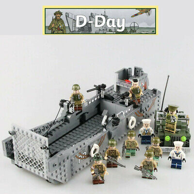 WW2 Military Landing Craft Boat + Army Jeep Truck + Soldiers Normandy Fit Lego!~ • 20.19£
