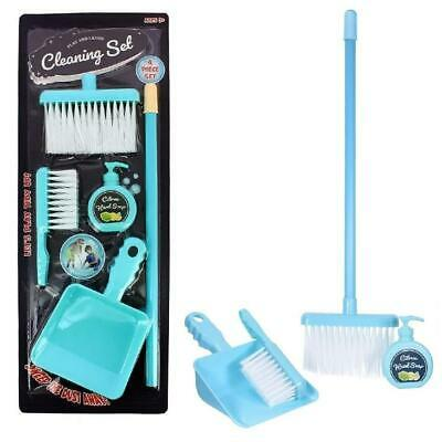 4Pc Kids Cleaning Sweeping Play Set Broom Brush Dustpan Pretend Toy Role Play • 7.15£