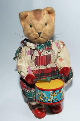 Vintage AUTOMATON Mechanical TINPLATE CLOCKWORK TOY CAT Drums MARCHES Moves Head • 40£