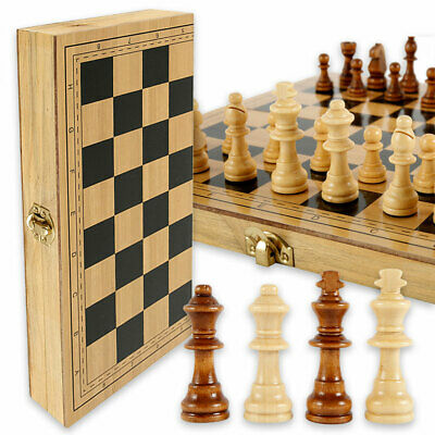 32 Piece Folding Large Wooden Chess Set High Quality Chessboard Kid Gift Toy • 14.99£