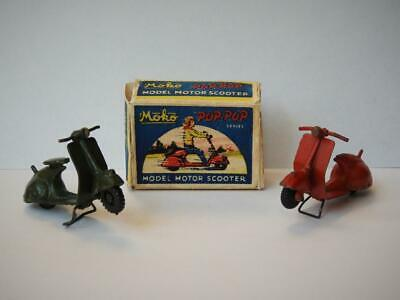 EARLY MOKO LESNEY 1950-55 DIECAST POP POP SCOOTERS X 2 WITH COPY BOX VERY RARE • 12.50£