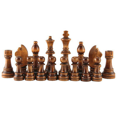 Premium 32 Chess Pieces Large 70mm Wooden Carved Hand Crafted 7cm King Best   • 12.99£
