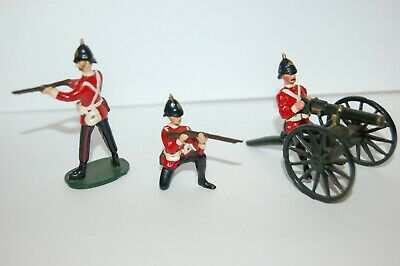 Vintage British Bulldog White Metal Lead British Soldiers And Gattling Gun • 26£