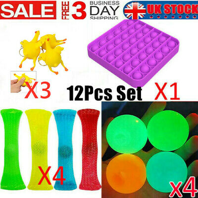 12 Pack Fidget Toys Set Sensory Tools Bundle Stress Relief Push Bubble Hand Toys • 12.99£