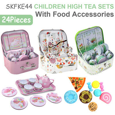 24 Pieces Tea Set Role Pretend Play Kids Childrens Toy Playset Fun Gift • 19.69£