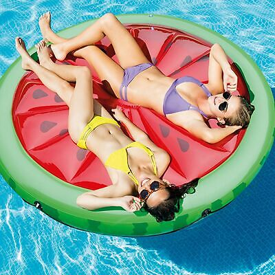 Inflatable Watermelon Slice Island Swimming Pool Lilo Water Air Lounger Float • 29.99£