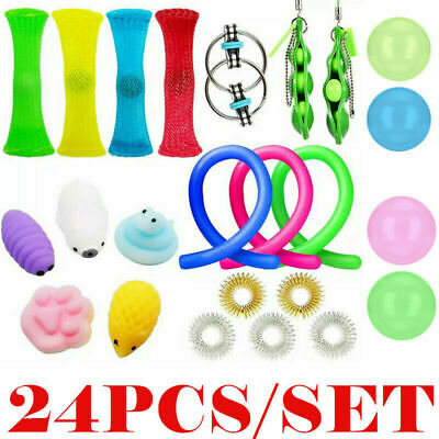 24 Pcs Fidget Sensory Toys Autism ADHD Stress Relief Special Need Education Sets • 11.75£