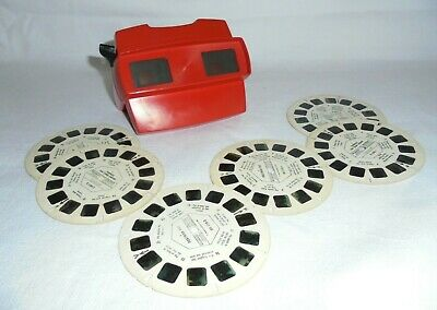 Vintage Red Optical  3d Viewmaster + 6 Viewing Discs • 11£