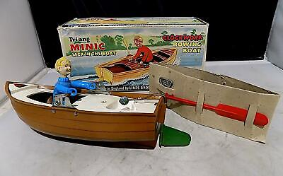 Vintage Plastic & Tinplate Wind-Up Jack In The Boat, Tri-ang Minic. England EXiB • 28£