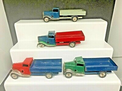 TRIANG MINIC CLOCKWORK DELIVERY LORRY FLATBED JOB LOT X4 - ALL WORKING ORDER • 80£