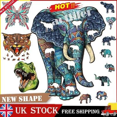 Wooden Jigsaw Puzzle Unique New Animal Shape Jigsaw Pieces Adults Kids Toy Gift • 17.19£