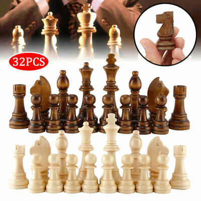 32x Wooden 65/91mm King Chess Crafted Kit Large Chessman Carved Pieces Hand Toy • 10.76£