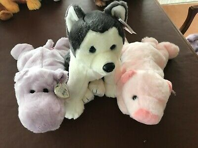 3 X Retired Ty Beanie Buddies - Squealer, Nanook And Happy. • 20£