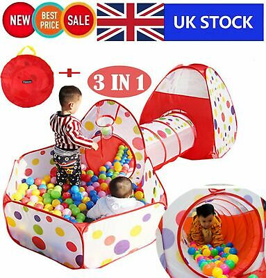 3 In1 Kids Play Tent Toddler Tunnel Ball Pit Pop Up Cubby Children Playhouse • 21.42£