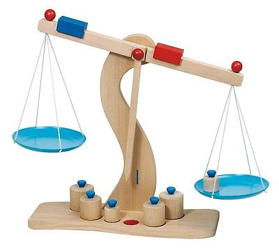 Scale Grocery Wood Scale With Metal Pans Goki 51856 • 20.85£