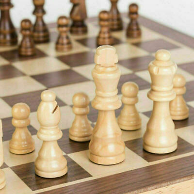 UK Large Chess Wooden Set Folding Chessboard Pieces Wood Board New Hot • 11.99£