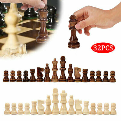 32 Piece Wooden Carved Small Chess Pieces Hand Crafted Set 65/91mm King Tool New • 8.83£