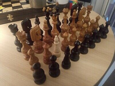 ....huge 5.25 Inch Vintage Chess Set Wooden Pieces Felted Stunning Pattern Used  • 85.99£