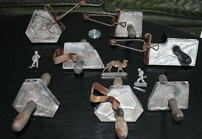 Vintage Metal Lead Casting Molds X7. Soldiers Cannon Camel Indians Zulu • 40£