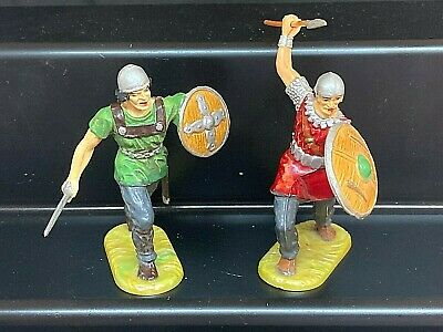 ELASTOLIN 70mm NORMAN ADVANCING WITH SWORD & ATTACKING WITH SPEAR #9150 & #2961 • 34£