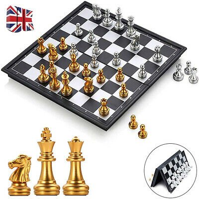 Large Chess Set Folding Magnetic Chessboard Pieces Wood Board Funny Game 25*25cm • 6.98£