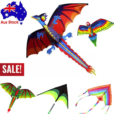 Fun Toys For Kids Play - 3D Dragon With Tail Kite Large Line Outdoor Flying • 4.61£