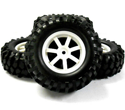 A960030 1/10 Scale Off Road Rock Crawler Wheel And Tyres 4 White Plastic 7 Spoke • 12.34£