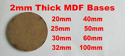 2mm Thick Wargame Round Circle Bases 20mm 25mm 30mm 32mm 40mm 50mm 60mm 100mm  • 8£
