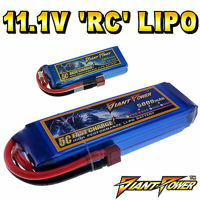 11.1V 350mAh - 5000mAh 3S RC LiPo Battery Up To 65C All Sizes + Custom Connector • 20.60£