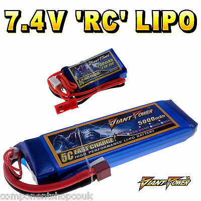 7.4V 120mAh - 5000mAh 2S RC LiPo Battery Up To 50C All Sizes + Custom Connector • 17.65£
