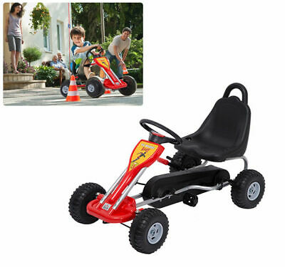 Deluxe Kids Ride Pedal Racing Car Go Kart Adjustable Seats With Hand Brake Red • 48.99£