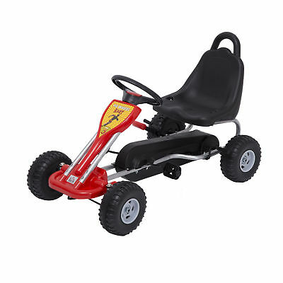 Deluxe Kids Ride Pedal Racing Car Go Kart Adjustable Seats With Hand Brake Red • 47.99£