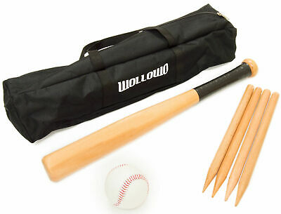 Wollowo Outdoor Wooden Rounders Game Set Bat Ball Base Posts/Stumps • 12.99£