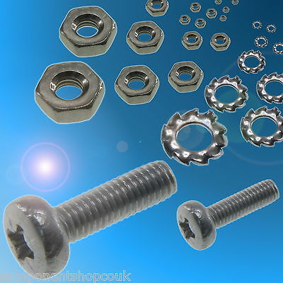 M2 M2.5 M3 Pan Head Pozidriv Zinc Plated Steel Bolts Nuts Washers RC Models • 2.75£