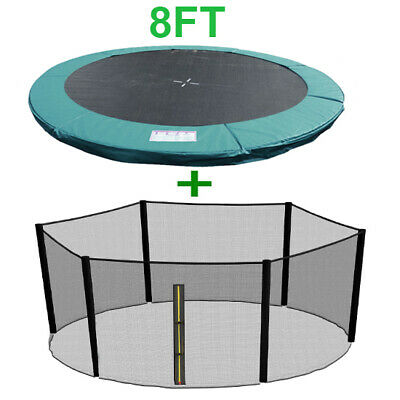 8FT Trampoline Replacement Spring Cover Padding Pad + Safety Net Bundle Green • 59.99£