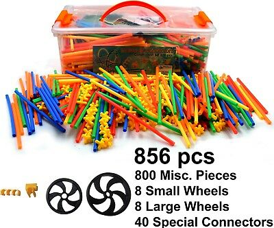 Straws And Connectors Building Construction Toy Incl. Wheels - 856 Piece Set  • 24.99£