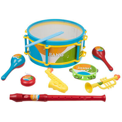 8 Piece Musical Instruments Children's Toy Set Drum Trumpet Maracas Tambourine • 8.99£