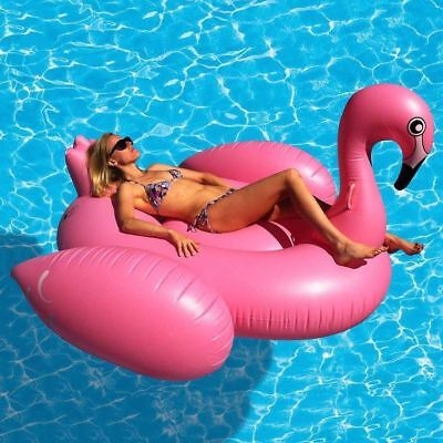 Giant Inflatable Flamingo Fun Water Float Raft Ride On Pool Lounger Beach Toy • 17.95£