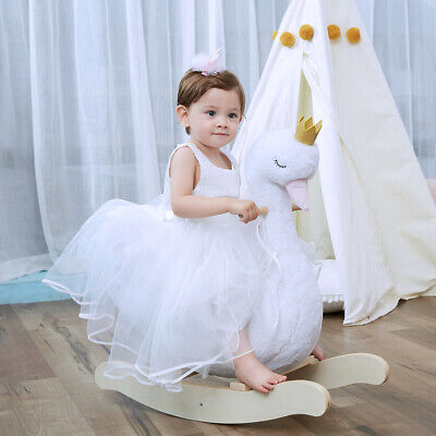 White Plush Swan Wooden Rocking Horse Toys Toddler Baby Ride On With Seat Chairs • 79.86£