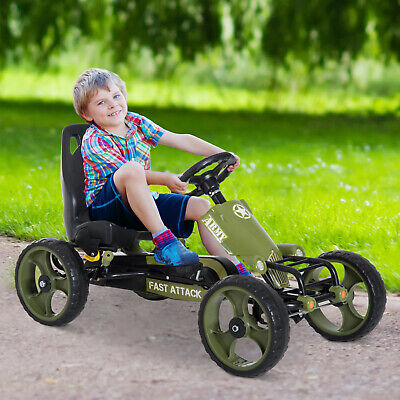 Go Kart Ride On Racer Kids Children Hand Brake Pedal Powered Adjustable EVA Tyre • 70.99£