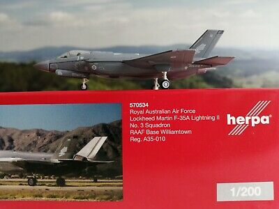 Herpa Wings 1:200 RAAF F-35A Lightning II No 3 Squadron Base Williamtown 570534 • 26.51£