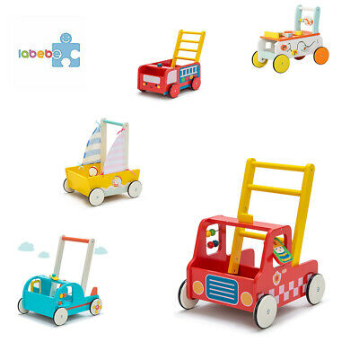 Baby First Steps Push Along Walker Activity Toy Mobility Wooden Pull Storage Box • 32.99£