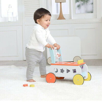 2 In 1 Baby Walker First Steps Activity Toys Car Push Along Riding On Wooden Car • 32.89£