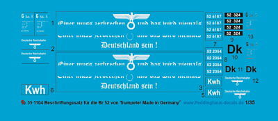 Peddinghaus-Decals 1/35 1104 Decal For Br 52 Trumpeter • 10.78£